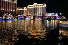 The Fountains Of Bellagio 42. Bellagio is a resort, luxury hotel and casino on the Las Vegas Strip in Paradise, Nevada. It is owned and operated by MGM Resorts royalty free stock photos