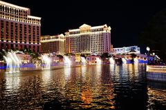 The Fountains Of Bellagio 41. Bellagio is a resort, luxury hotel and casino on the Las Vegas Strip in Paradise, Nevada. It is owned and operated by MGM Resorts stock photography