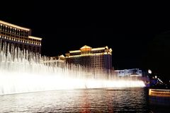 The Fountains Of Bellagio 19. Bellagio is a resort, luxury hotel and casino on the Las Vegas Strip in Paradise, Nevada. It is owned and operated by MGM Resorts stock photo