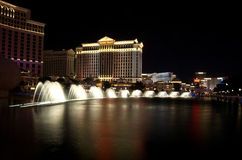 The Fountains Of Bellagio And Casinos. Beautiful zoomed out photograph of The Fountains Of Bellagio And Casinos along the Las Vegas Strip Stock Images