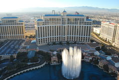 The Fountains at the Bellagio Hotel, Las Vegas. Aerial shot stock photography