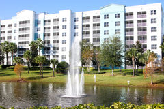 The Fountains, Blue Green Resort, Orlando, Florida. The water fountains and buildings at the luxurious Blue Green Resorts in Orlando, Florida Stock Images