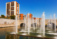 Fountains and bridge over Manzanares river in  Madrid Royalty Free Stock Image
