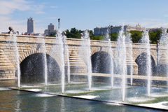 Fountains and bridge over Manzanares river in Madrid Royalty Free Stock Photography