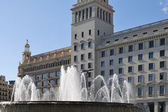 Fountains and buildings in Placa De Catalunya. Barcelona. Spain Royalty Free Stock Images