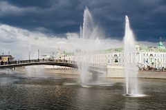 Fountains in the channel Royalty Free Stock Image