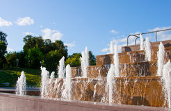 Fountains in the city Cheboksary Royalty Free Stock Image