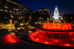Fountains and City Hall at night, at Grand Park  Royalty Free Stock Image