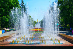 Fountains in city park of Chernihiv Royalty Free Stock Photo
