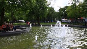 Fountains in city park stock footage
