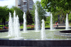 Fountains in city park Royalty Free Stock Images
