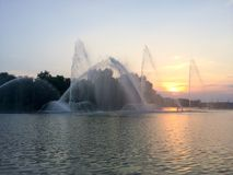 Fountains in the city of Vinnytsia royalty free stock image
