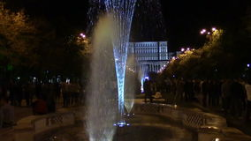 Fountains. Colorful fountains in front of People's House in Bucharest, at night stock video