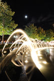 Fountains at Columbus Cirlce at Night. Spray of the fountains at Columbus Circle in New york City Stock Photo
