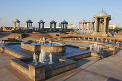 Fountains complex and pavilions with domes Stock Photography