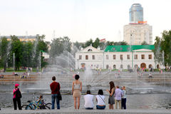 Fountains at the dam in Yekaterinburg Royalty Free Stock Photography