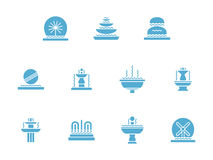 Fountains decor glyph style icons set. Decorative fountains. Combination of moving water with architecture and sculpture. Landscape art. Small architectural Royalty Free Stock Images