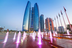Fountains at the Etihad Towers in Abu Dhabi Stock Photo