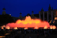 Fountains of the Font Magica in Barcelona at night, Spain. Colorful fountains of the Font Magica in Barcelona at night, Spain Stock Photography