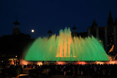 Fountains of the Font Magica in Barcelona at night, Spain. Colorful fountains of the Font Magica in Barcelona at night, Spain Royalty Free Stock Photography