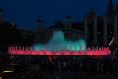 Fountains of the Font Magica in Barcelona at night, Spain. Colorful fountains of the Font Magica in Barcelona at night, Spain Stock Image
