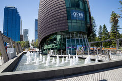 Fountains in front of entrance to Swan Bell Tower in Perth Royalty Free Stock Image