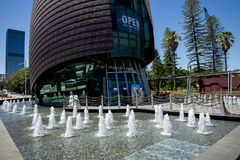 Fountains in front of entrance to Swan Bells in Barrack Square a Royalty Free Stock Photography