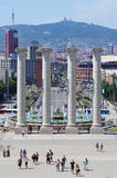 Fountains in front of National Museum, Placa De Espanya, Barcelona Stock Photography