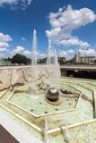Fountains in front of National Palace of Culture in Sofia, Bulgaria. SOFIA, BULGARIA -MAY 20, 2018: Fountains in front of  National Palace of Culture in Sofia Royalty Free Stock Photography
