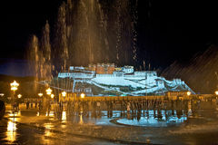 Fountains in front of the residence of the Dalai Lama Stock Photo