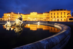 Fountains in front of Schonbrunn Palace in Vienna Royalty Free Stock Photo