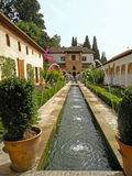 Fountains in the gardens of Alhambra in Granada, Spain Stock Photography