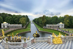 Fountains Grand cascade in Peterhof, Saint Petersburg, Russia Stock Photos