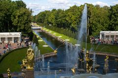 The fountains of the Grand Cascade in Peterhof. Stock Images