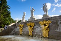 The fountains of the Grand Cascade in Peterhof. Stock Photos