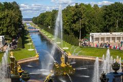 The fountains of the Grand Cascade in Peterhof. Royalty Free Stock Photography