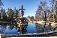 Fountains and groves in the gardens of the royal palace La Granj. Fountains and groves in the gardens surrounding the royal palace La Granja de San Ildefonso Stock Photography