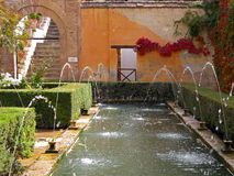Fountains In The Gardens Of Alhambra In Granada, Spain Stock Photo