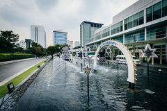 Fountains at the King Power Complex in Bangkok, Thailand. Stock Images