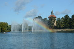 Fountains in Lake Stock Photography