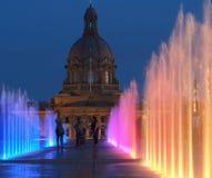 Fountains At Legislative Grounds Edmonton, Alberta. Multicoloured fountains at legislative grounds Edmonton Alberta Royalty Free Stock Images