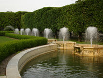 Fountains in Longwood Gardens, PA. Sunset stock photo