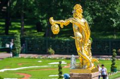 Fountains in the lower garden of Peterhof Royalty Free Stock Image