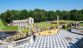 Fountains in the lower garden of Peterhof Royalty Free Stock Images