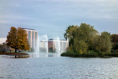 Fountains in Malmo. Three fountains in Pildammsparken in Malmo, Sweden Royalty Free Stock Images