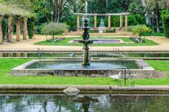 Fountains in Maria Luisa Park in Seville, Spain stock image