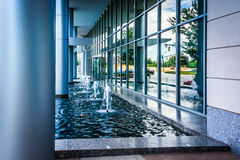 Fountains and modern building in downtown Charlotte, North Carol Royalty Free Stock Image