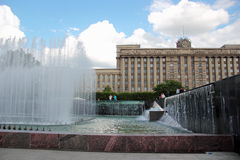 Fountains in moscow square in st. petersburg Stock Image