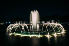 Fountains at the National World War II Memorial at night, at the. National Mall, in Washington, DC Royalty Free Stock Photo