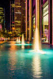 Fountains at night, in Rockefeller Center, Midtown Manhattan, Ne Stock Image